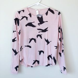 H&M Bird Long Sleeve Top Pink Black